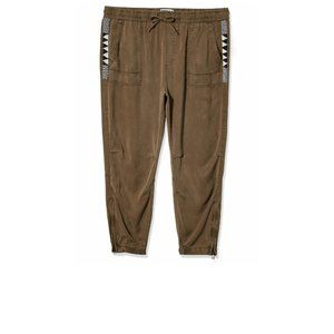 Pam & Gela Beaded Cargo Pants Joggers Small Green